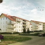 3d Visualization, in daylight, of housing build in Trzebnica - view on main entrance, car, trees on first plan.