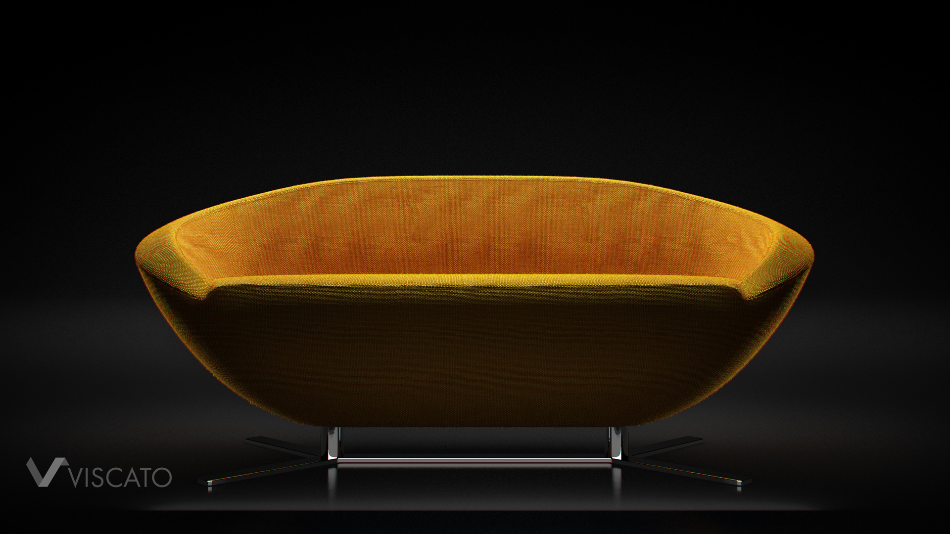 3d visualization of yellow modern sofa in dark, black studio - view from front.