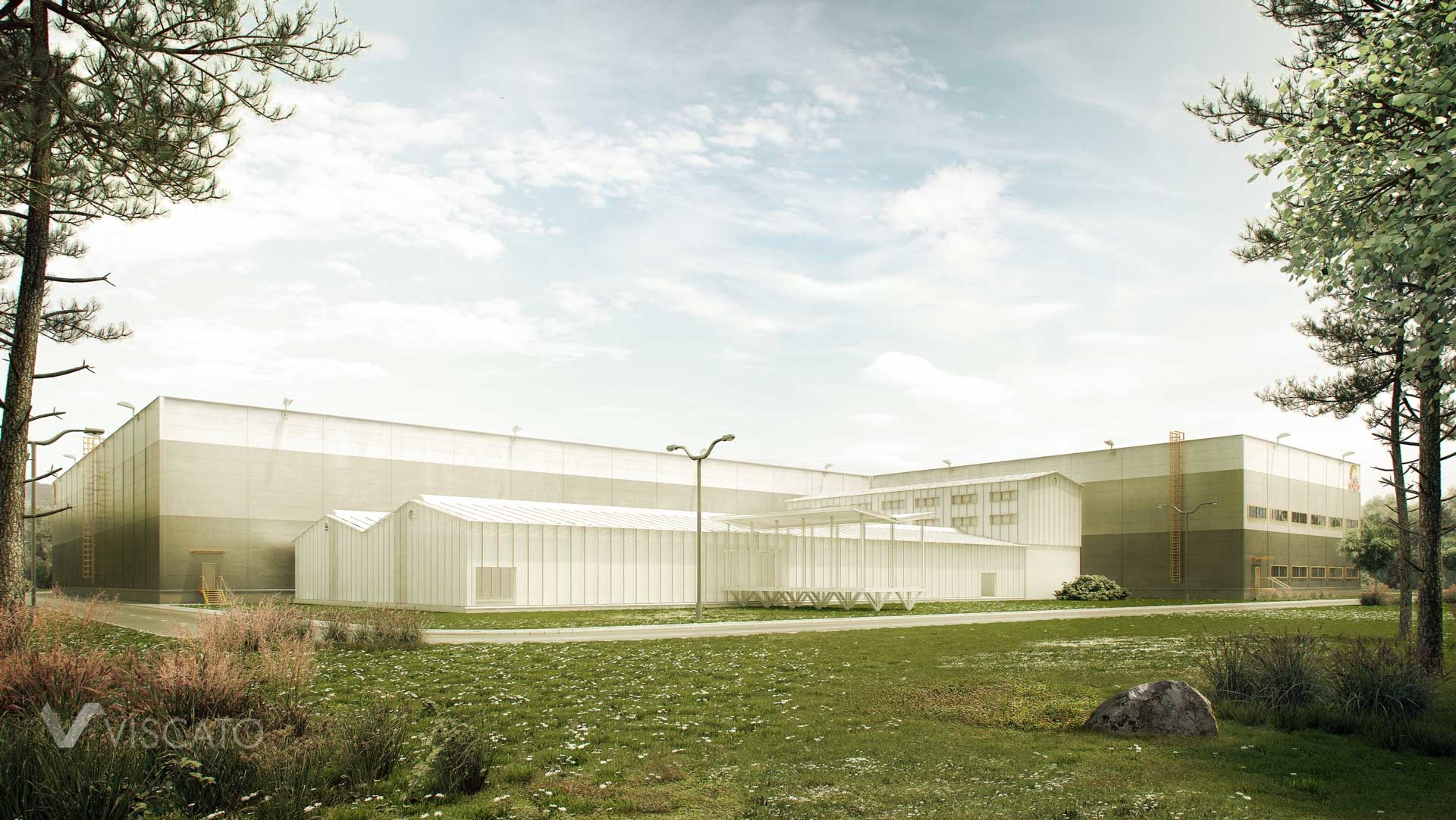3d visualization of production hall for food producer - Sonko. View is showing longer facade of factory, with additional building, meadow and trees.