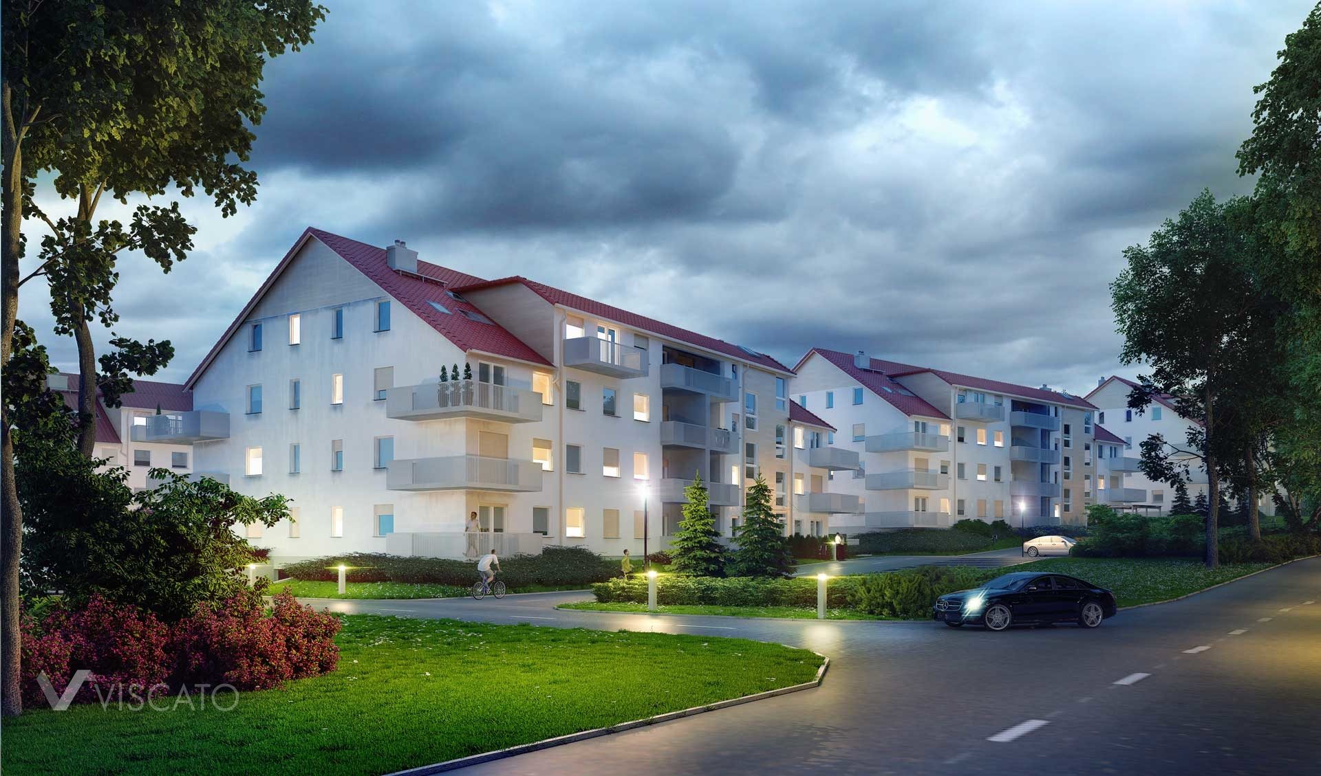 3d Visualization, by night, of housing build in Trzebnica - view on main entrance, car, trees on first plan.