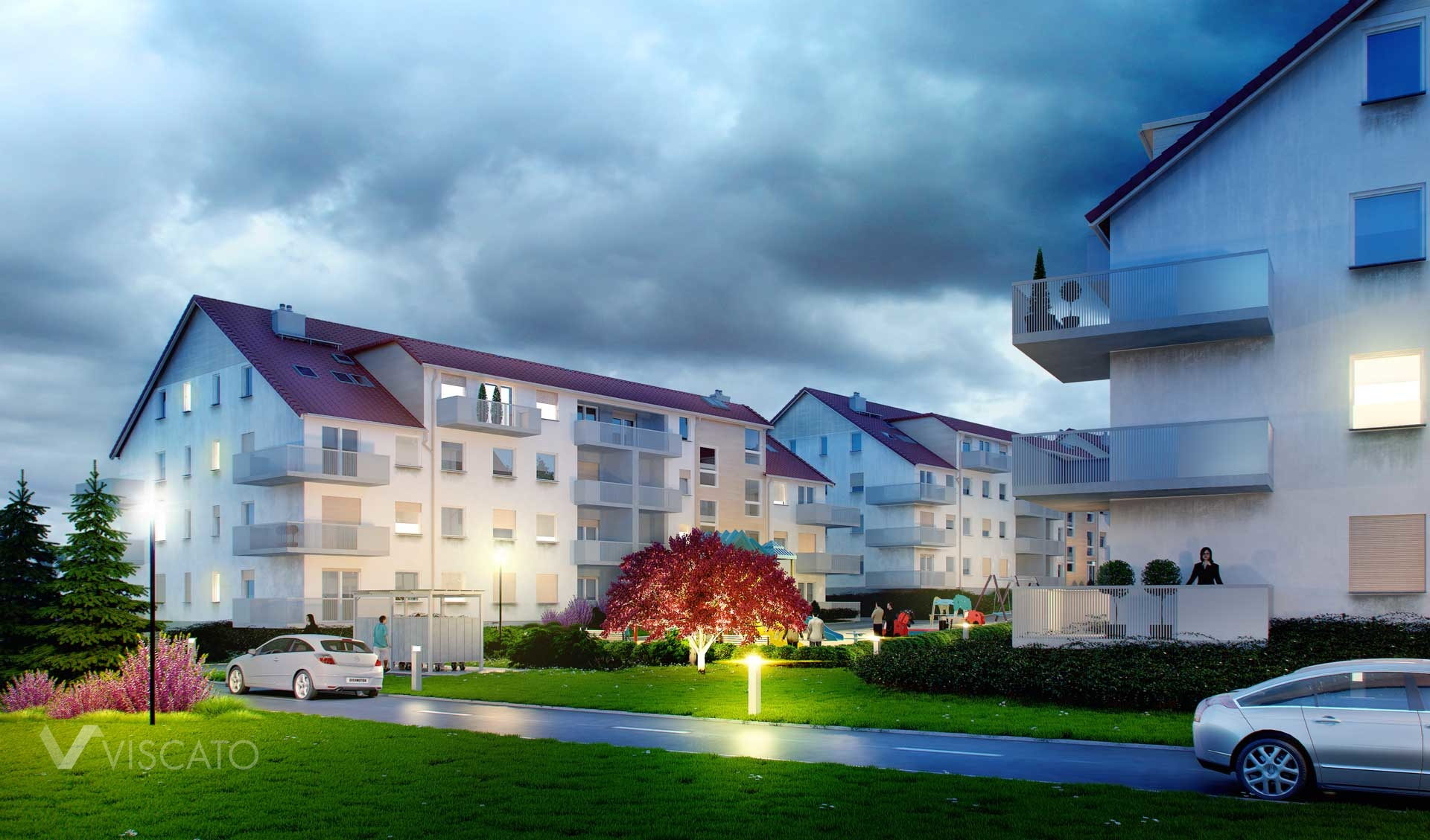 3d Visualization, by night, of housing build in Trzebnica - view on red tree, car and playground.