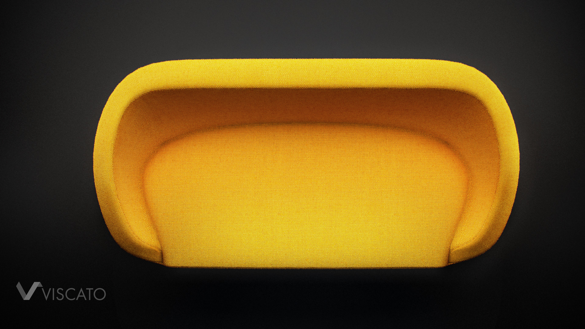 3d visualization of yellow modern sofa in dark, black studio.