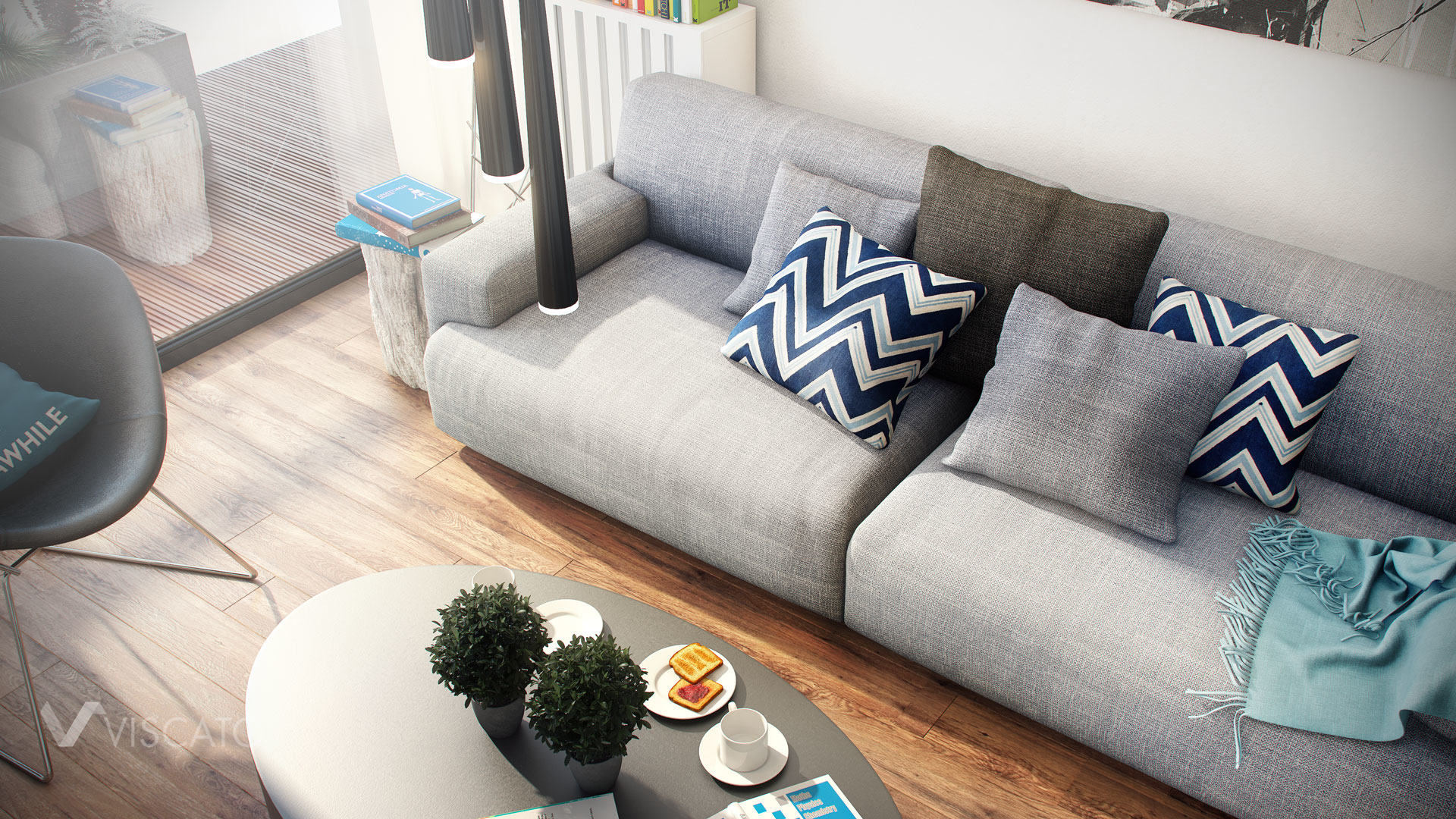 White modern interior of appartment, with wooden floor, grey sofa and pillows