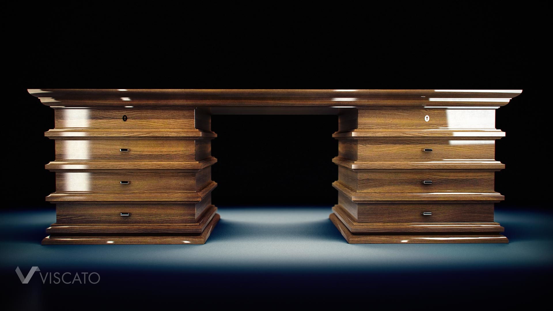 Wooden desk 3d visualization in dark blue studio - view from front.