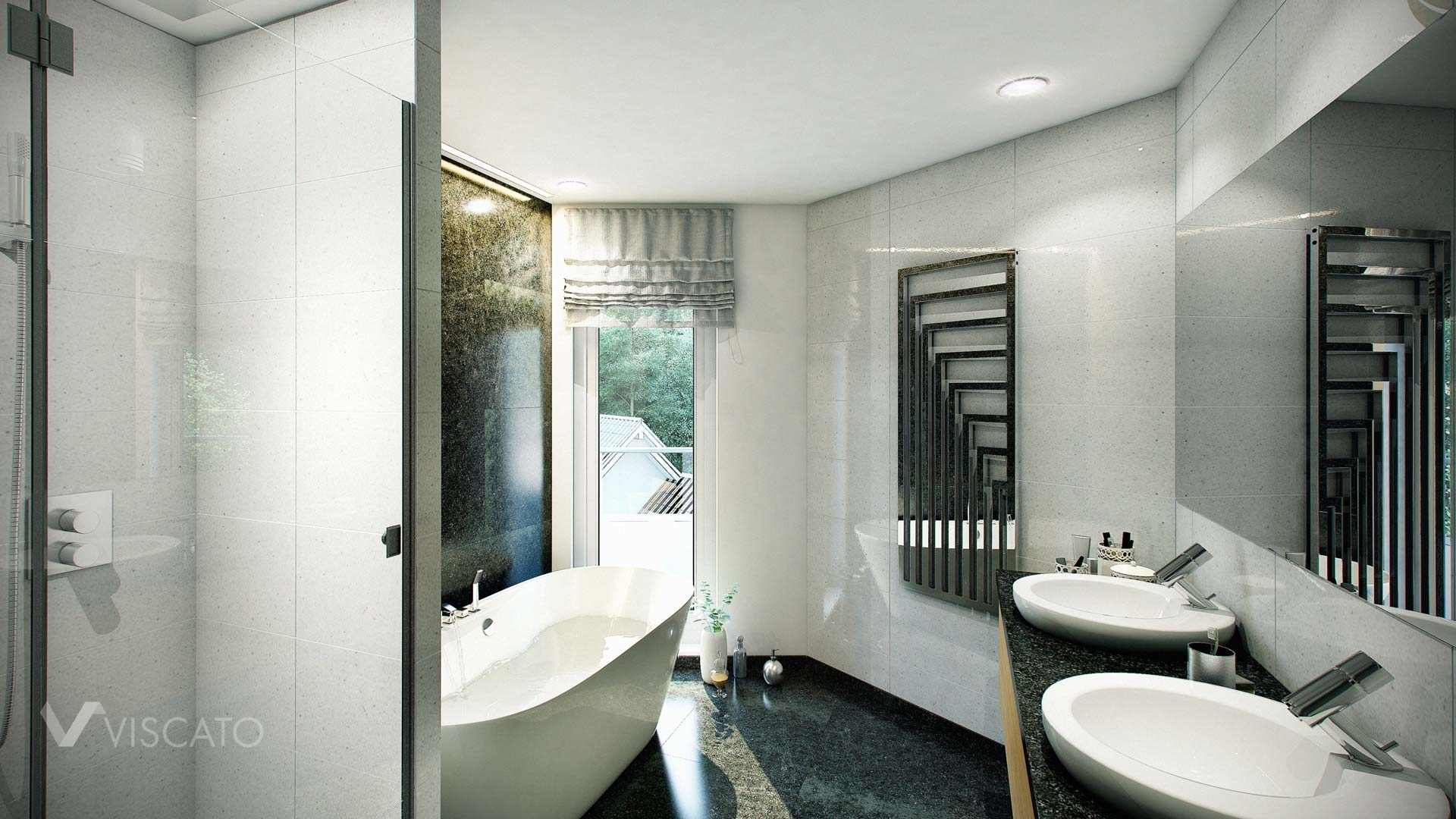 3D bathroom visualization in black and white colours