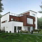 Exterior 3D Visualization of modern house in Norway- view from angle with trees, grass and plants