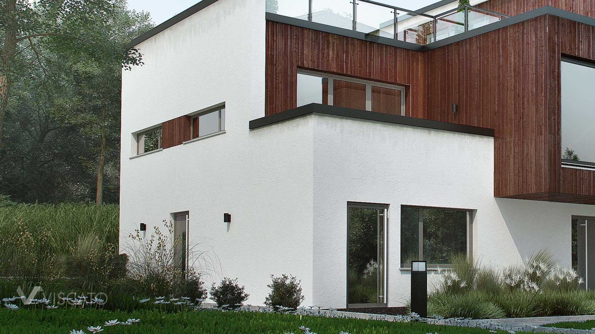 Exterior 3D Visualization of modern house in Norway- details of building with grass, trees and white walls