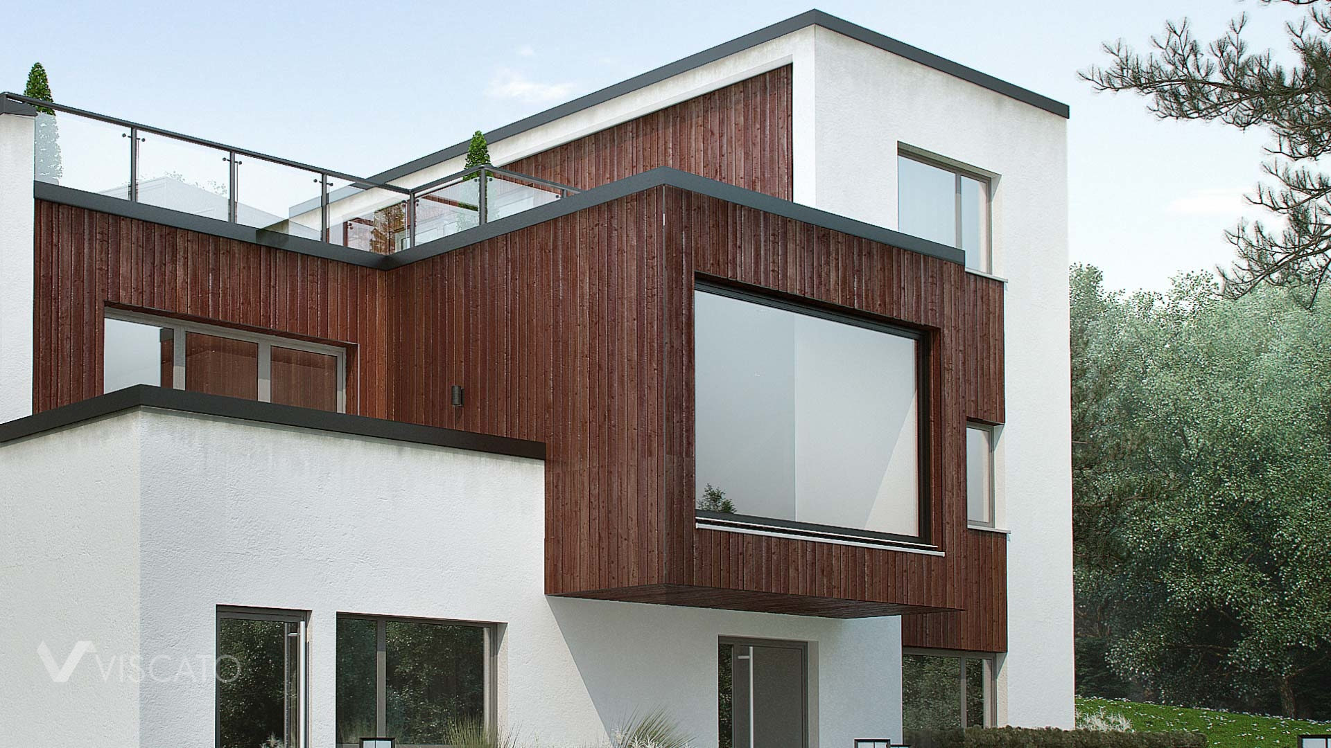 Exterior 3D Visualization of modern house in Norway- details of building with wood and big windows