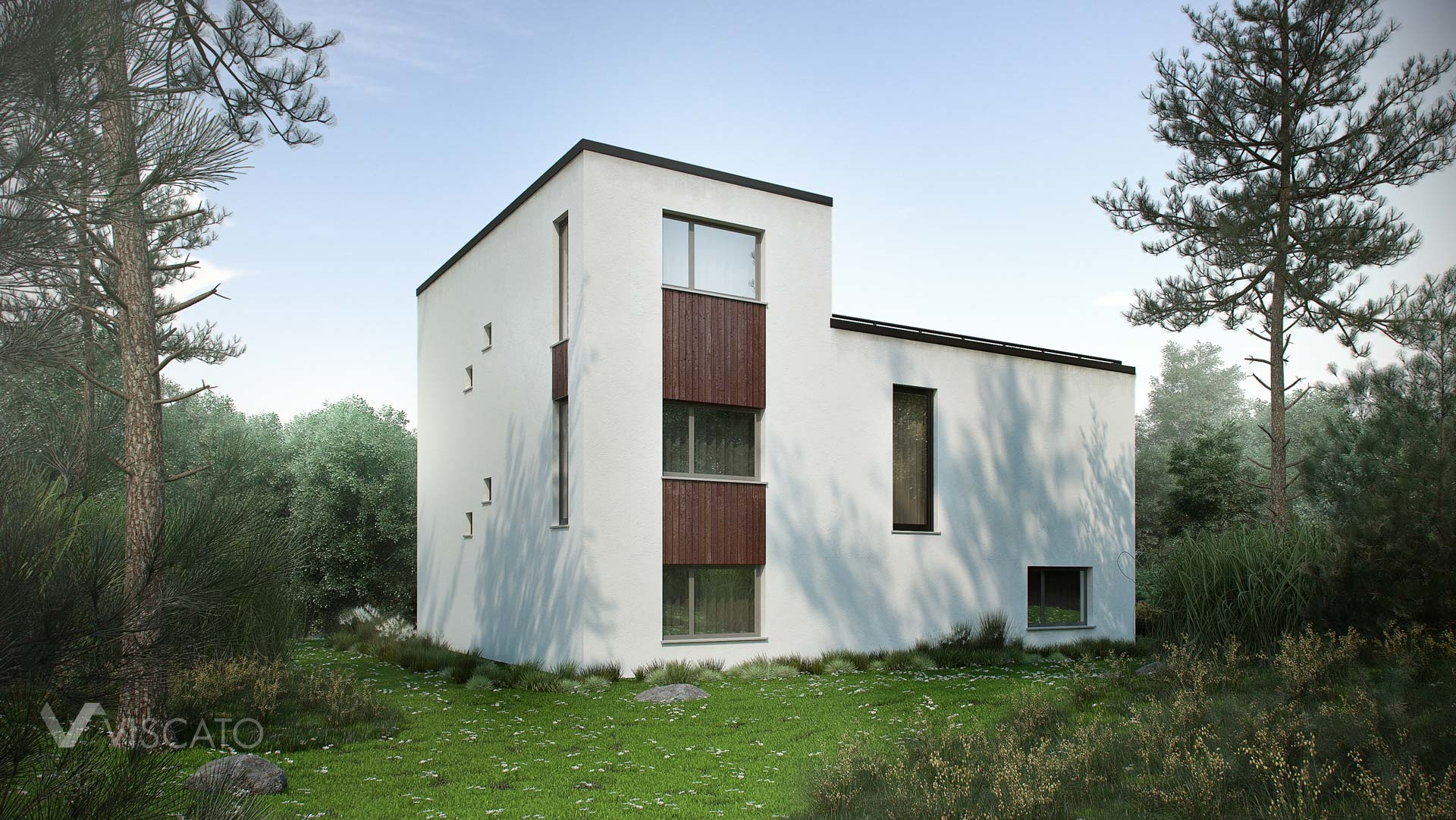 Exterior 3D Visualization of modern house in Norway- view from back