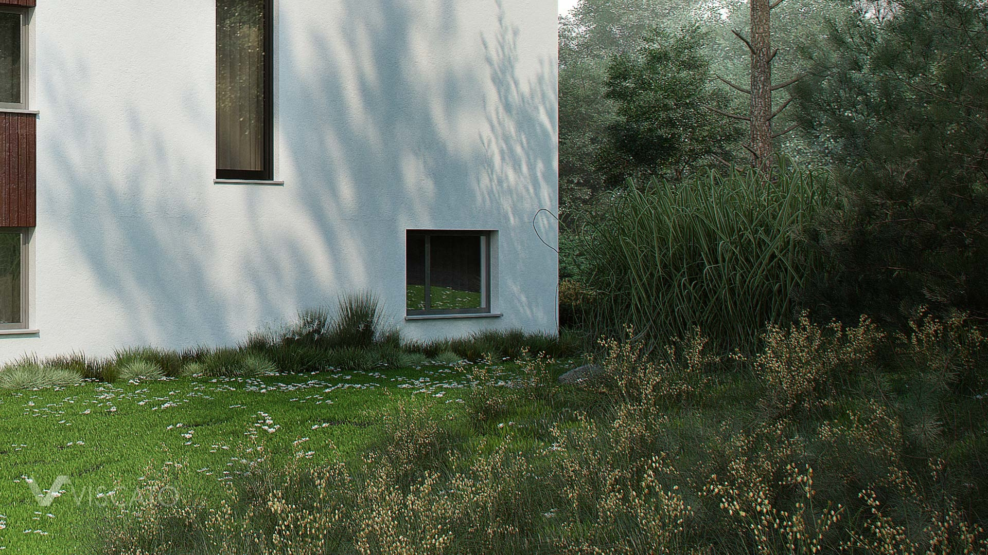 Exterior 3D Visualization of modern house in Norway- details of foliage