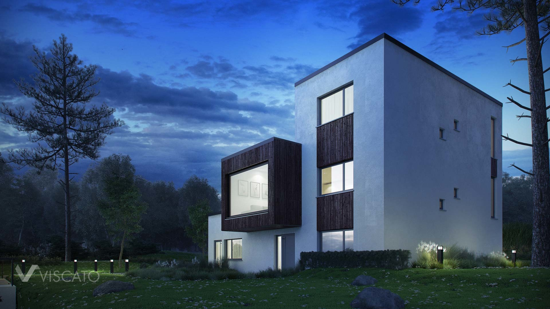 Night time renderings of modern villa in Norway - view from corner