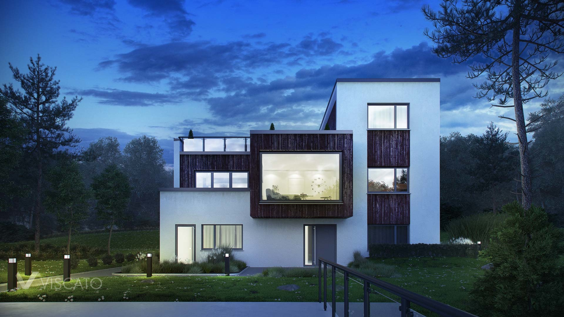Night time renderings of modern villa in Norway - view from front