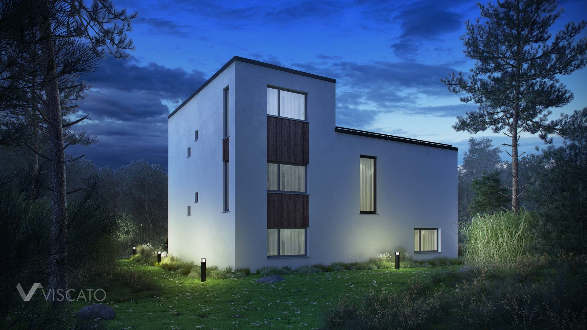 Night time renderings of modern villa in Norway - view from back