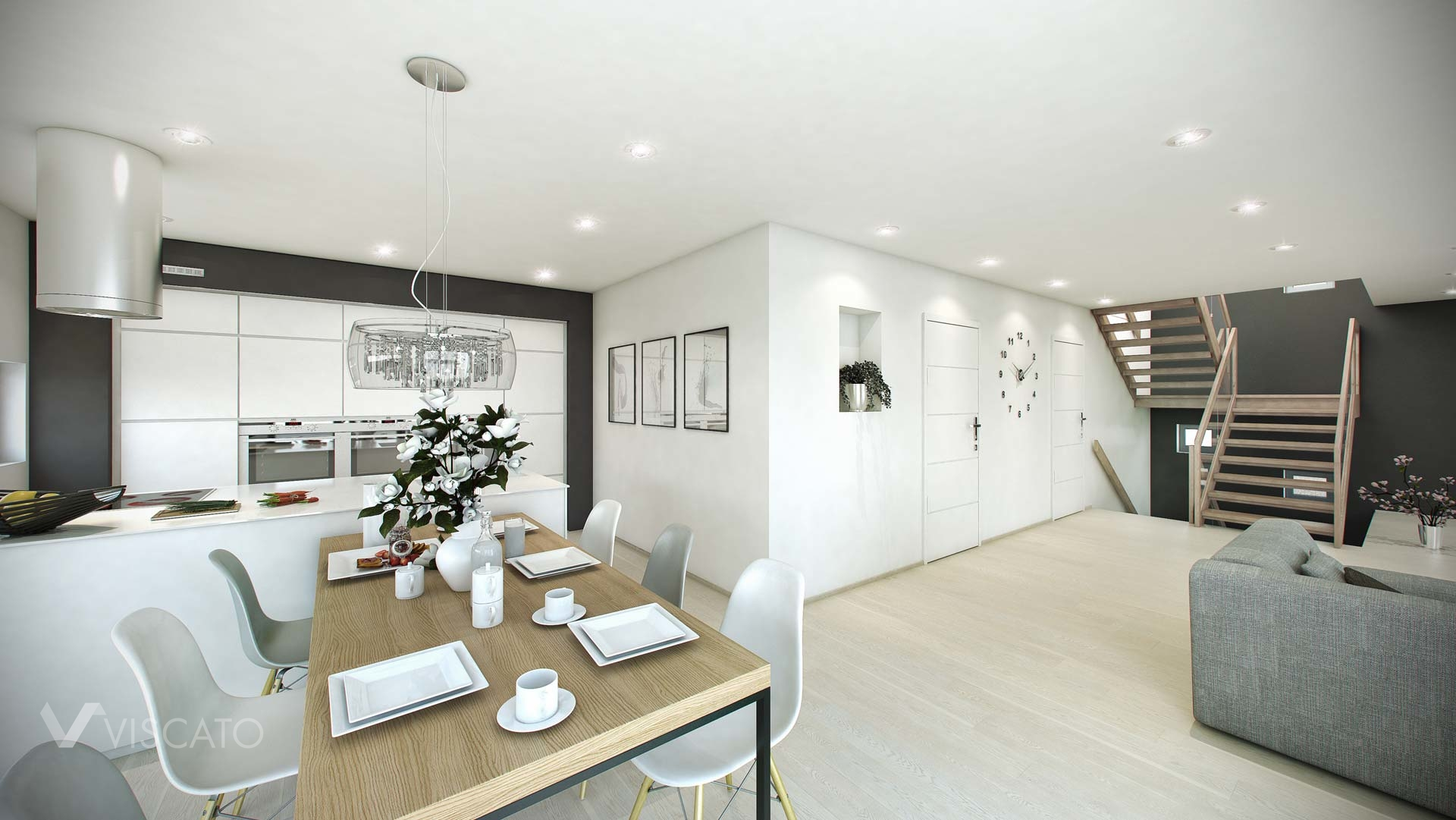 Scandinavian appartment 3d visualization- kitchen with dining table and staircase in living room