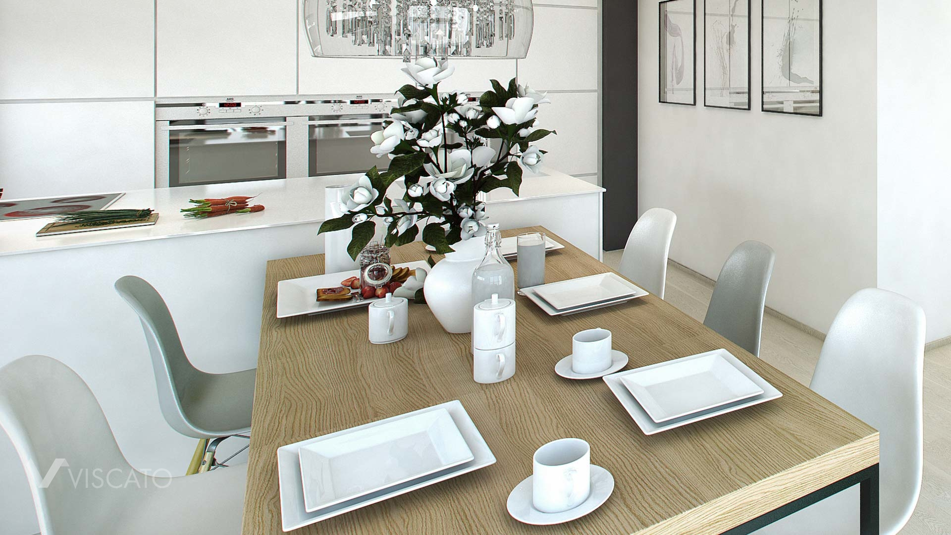 Scandinavian appartment 3d visualization- detail of dining table and kitchen