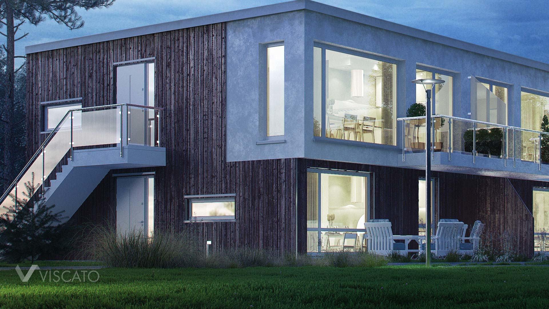 Exterior 3D Visualization Night time of modern house- detail of building with grass, furnitures and interiors