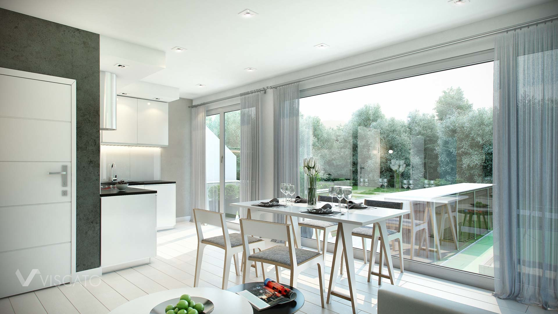 Interior 3d Visualization of modern scandinavian appartment- kitchen and table with chairs