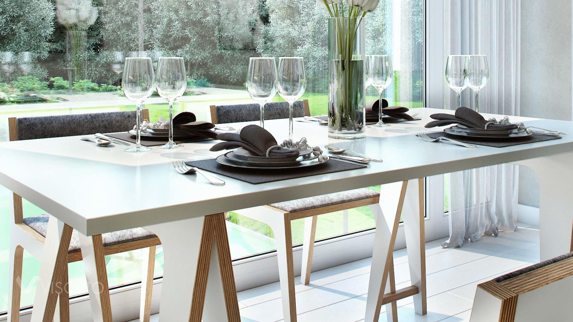Interior 3d Visualization of modern scandinavian appartment- detail of table with chairs