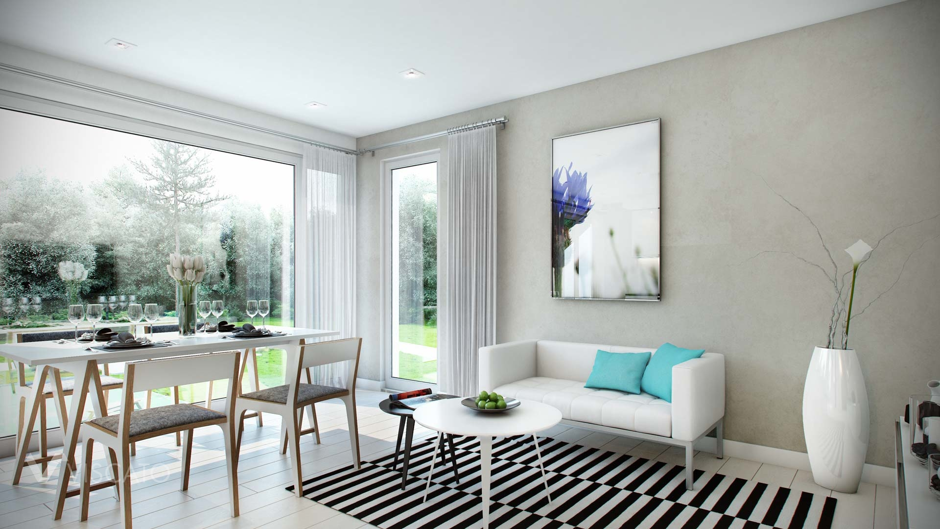 Interior 3d Visualization of modern scandinavian appartment- view with sofa, picture, carpet and table