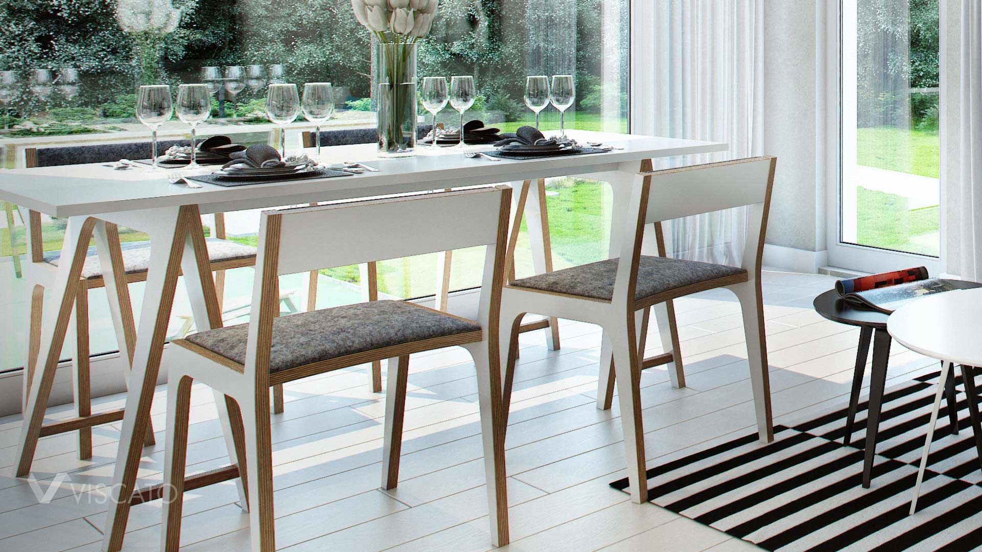 Interior 3d Visualization of modern scandinavian appartment- closeup on table with chairs and white floor