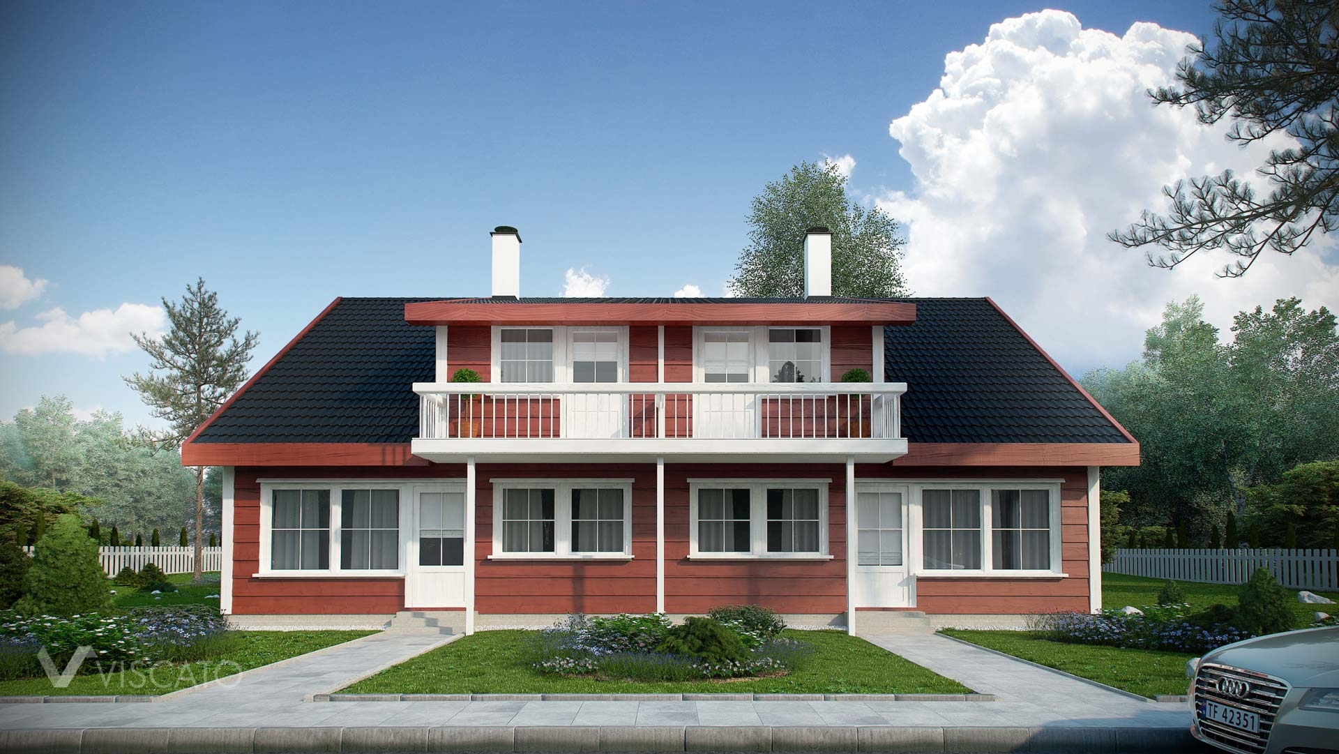 Tomannsbustad- exterior rendering of typical norwegian house