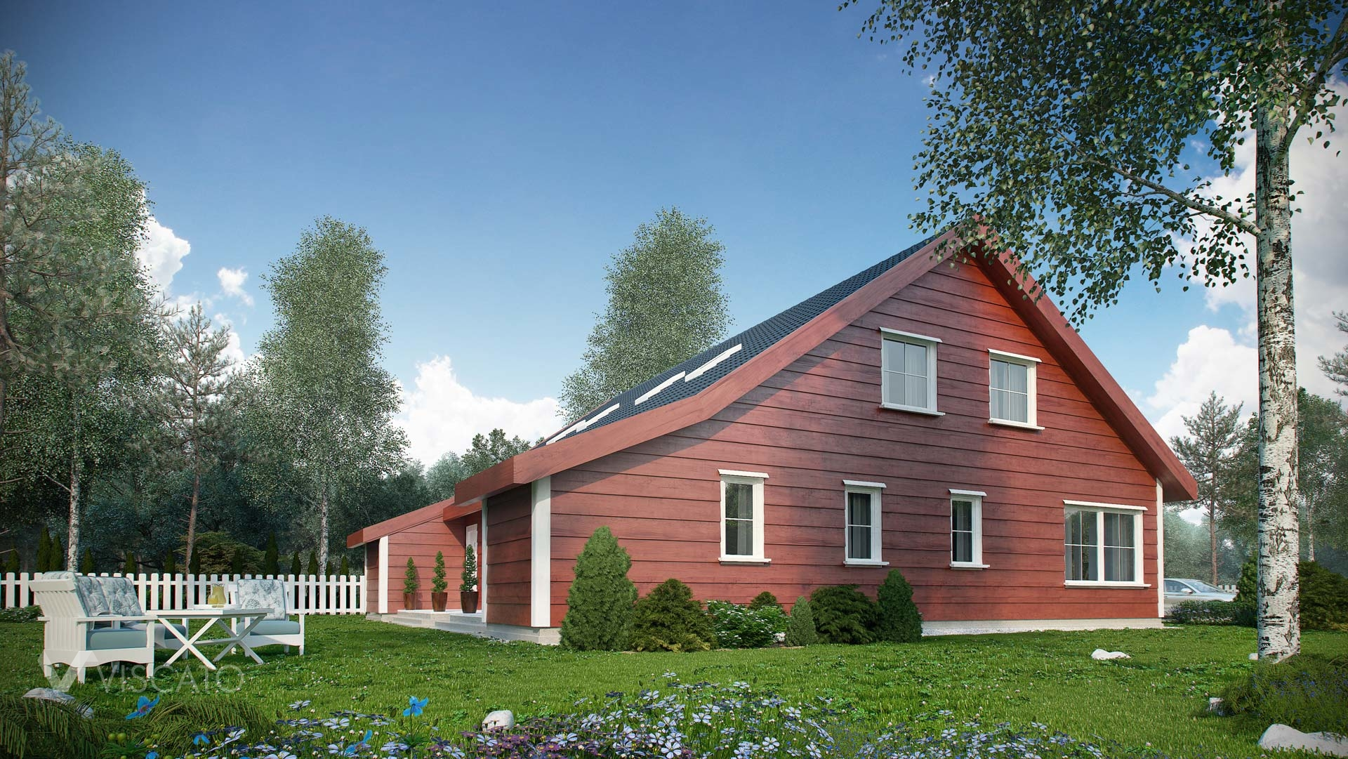 Tomannsbustad- exterior rendering of typical norwegian house - garden with trees, and garden furnitures