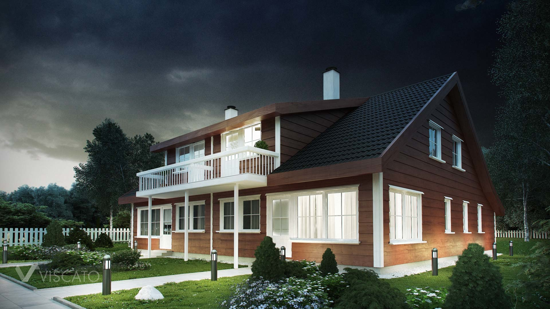 Tomannsbustad - exterior night rendering of typical norwegian house- view from side