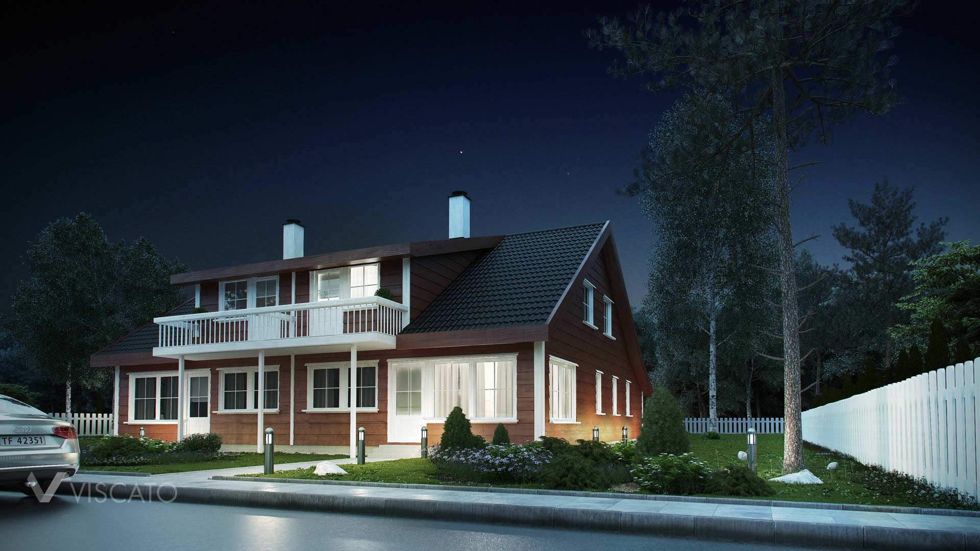 Tomannsbustad - exterior night rendering of typical norwegian house