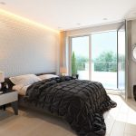Interior 3d visualization of bedroom in Leverkusen - view with balcony