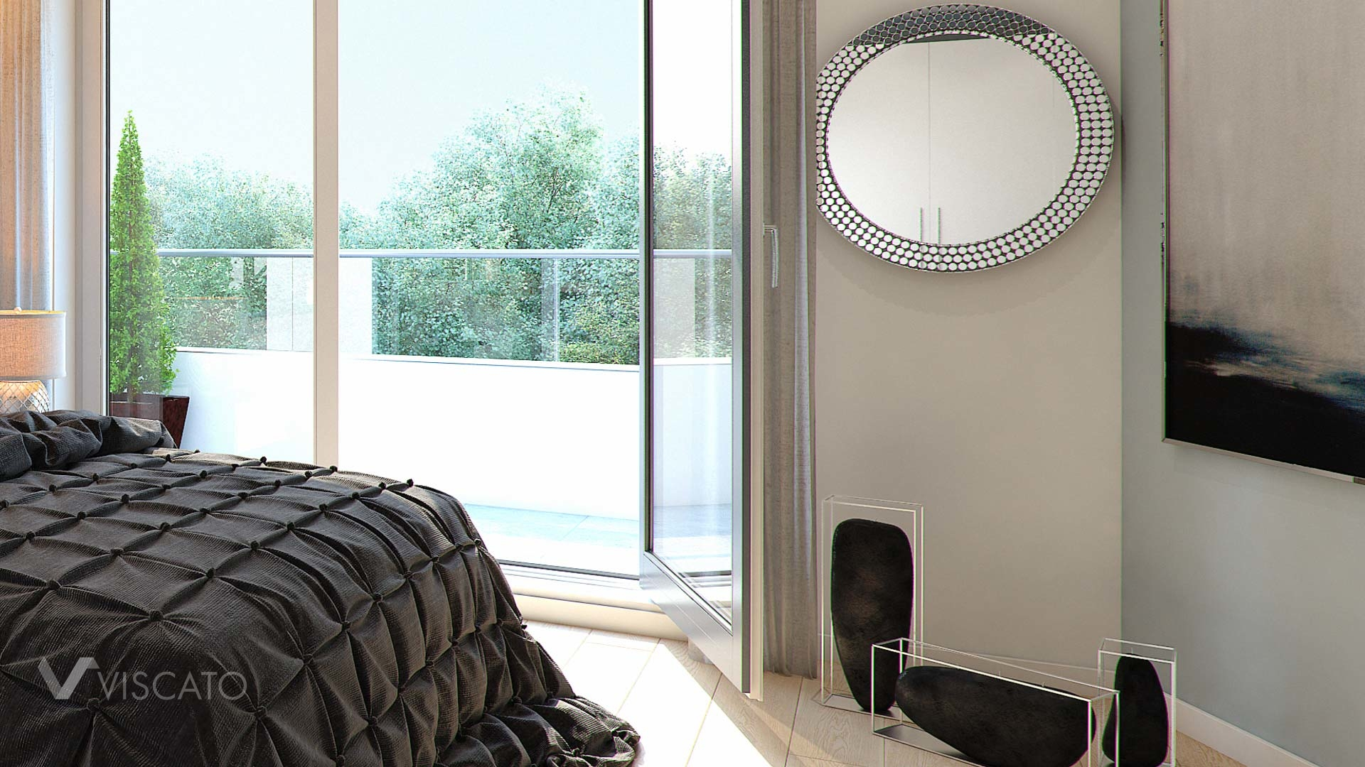 Interior 3d visualization of bedroom in Leverkusen - view on detail with bed, candles and mirror