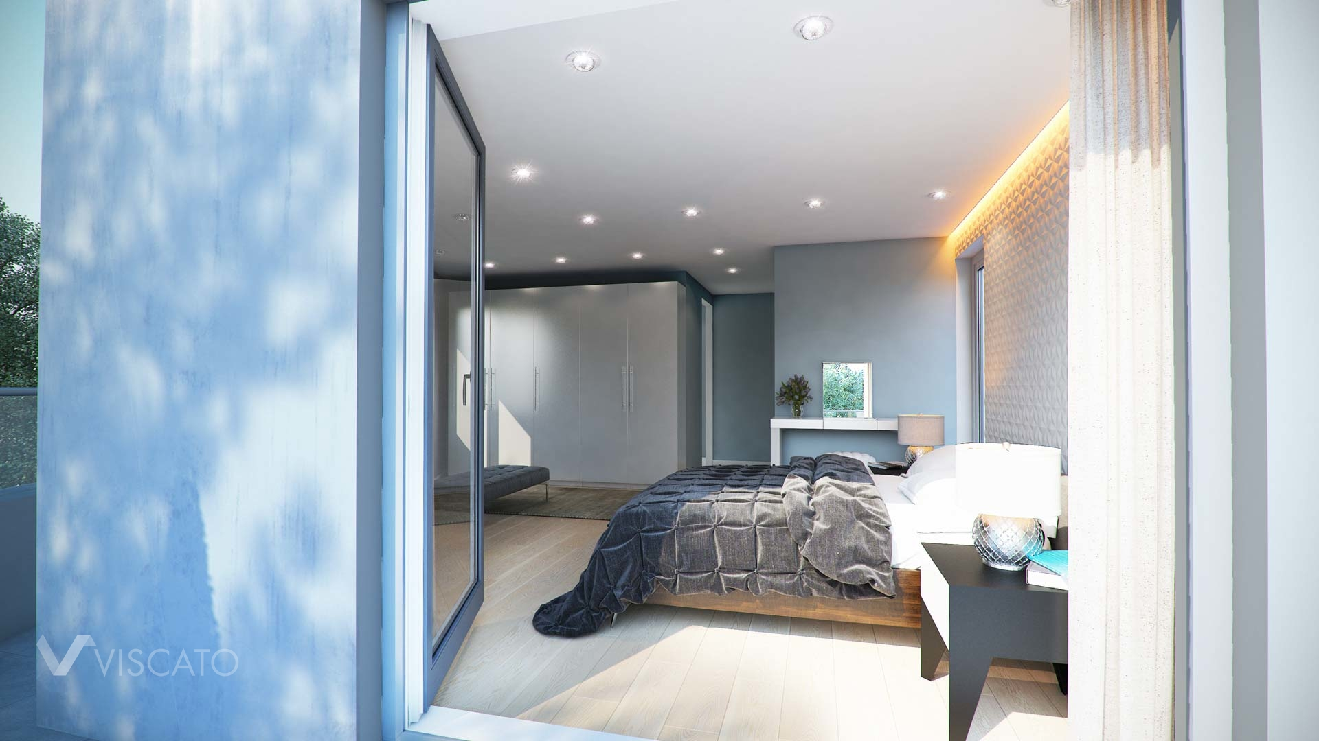 Interior 3d visualization of bedroom in Leverkusen - view from balcony