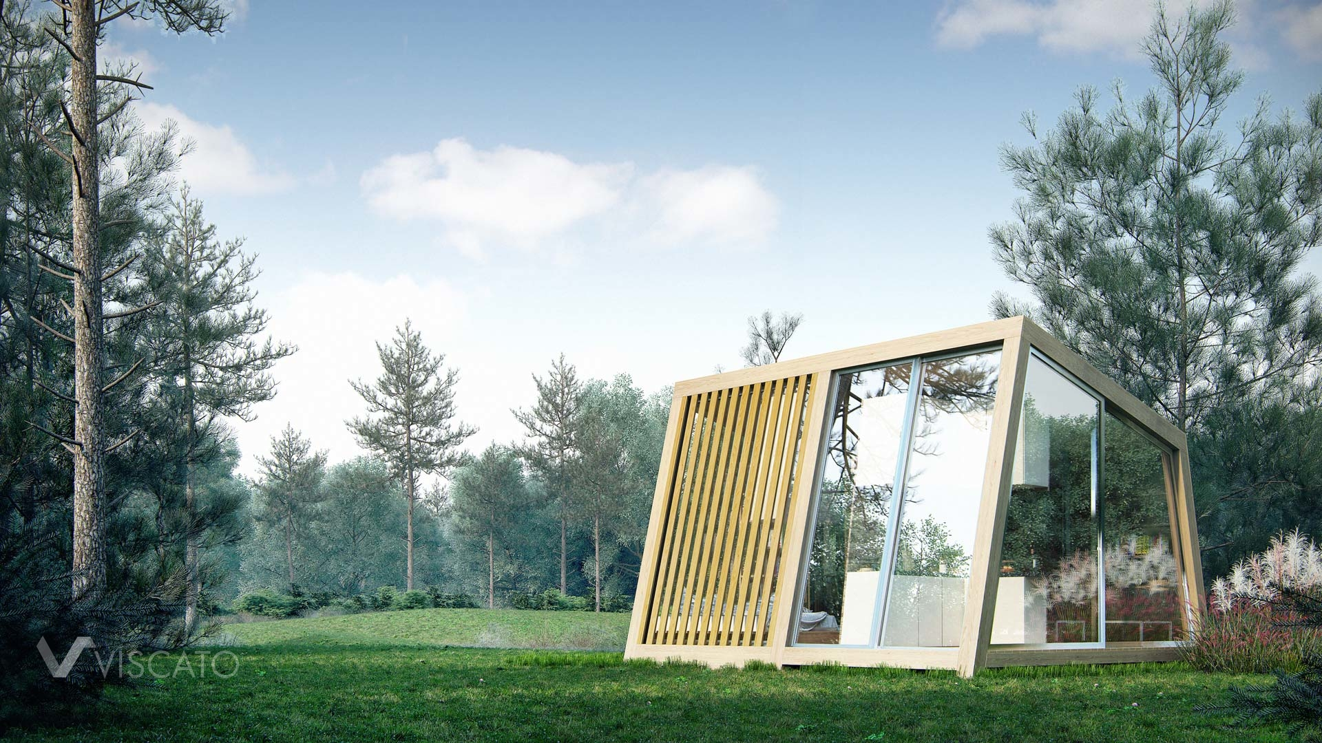 Exterior 3d visualization of small summer house
