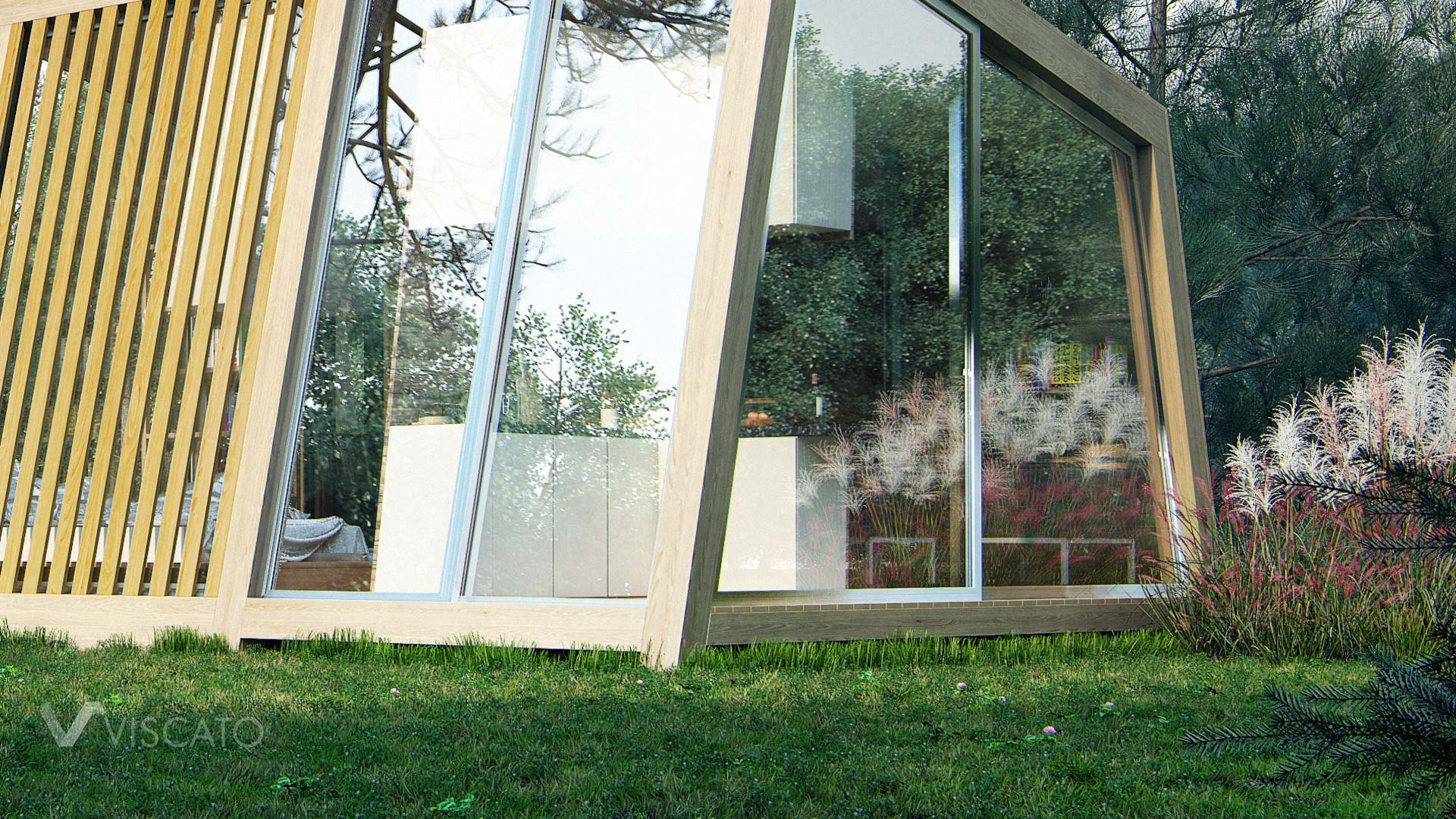 Exterior 3d visualization of small summer house- view on details
