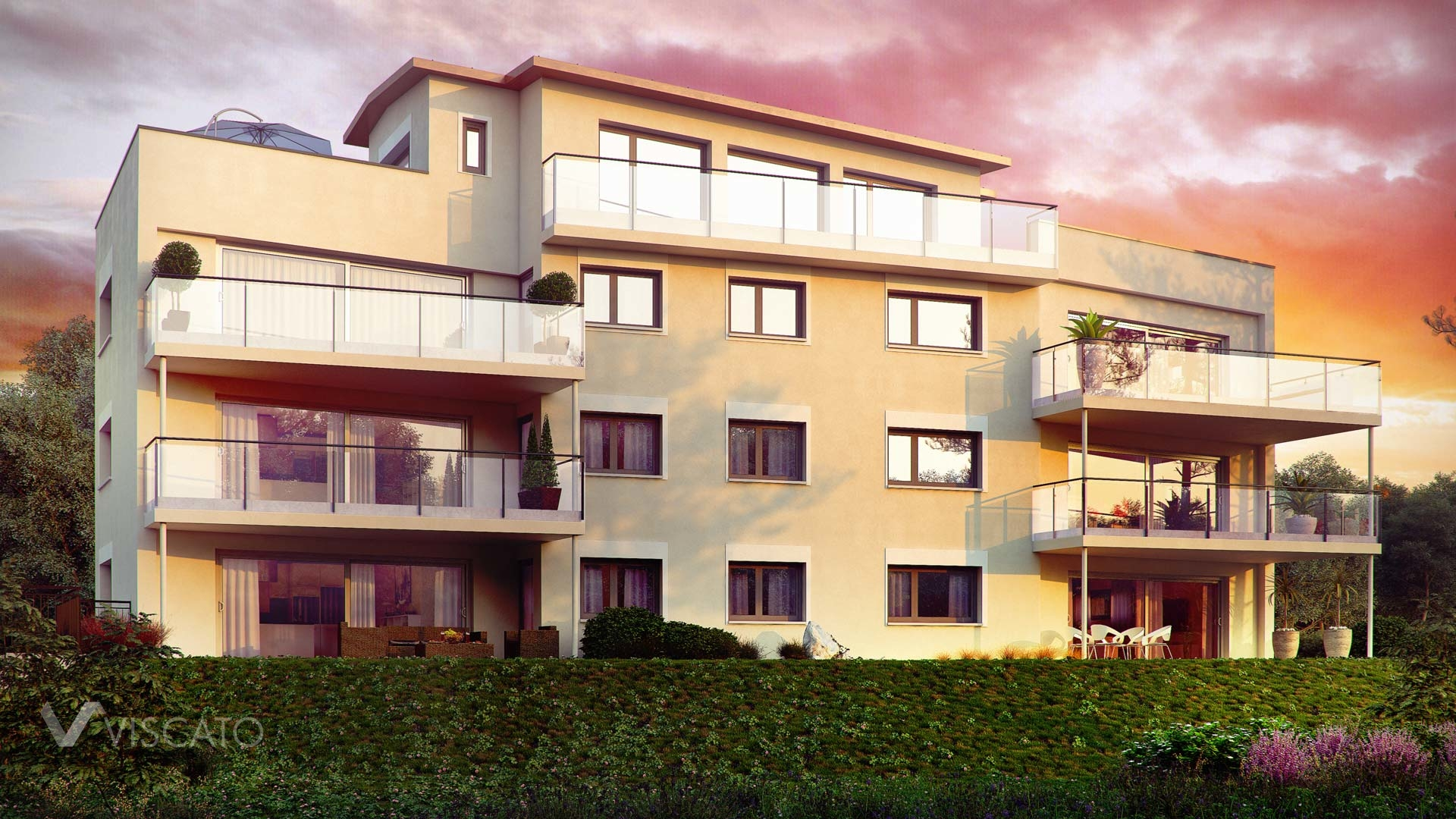 Sunset exterior visualization of multi family real estate - view from garden side