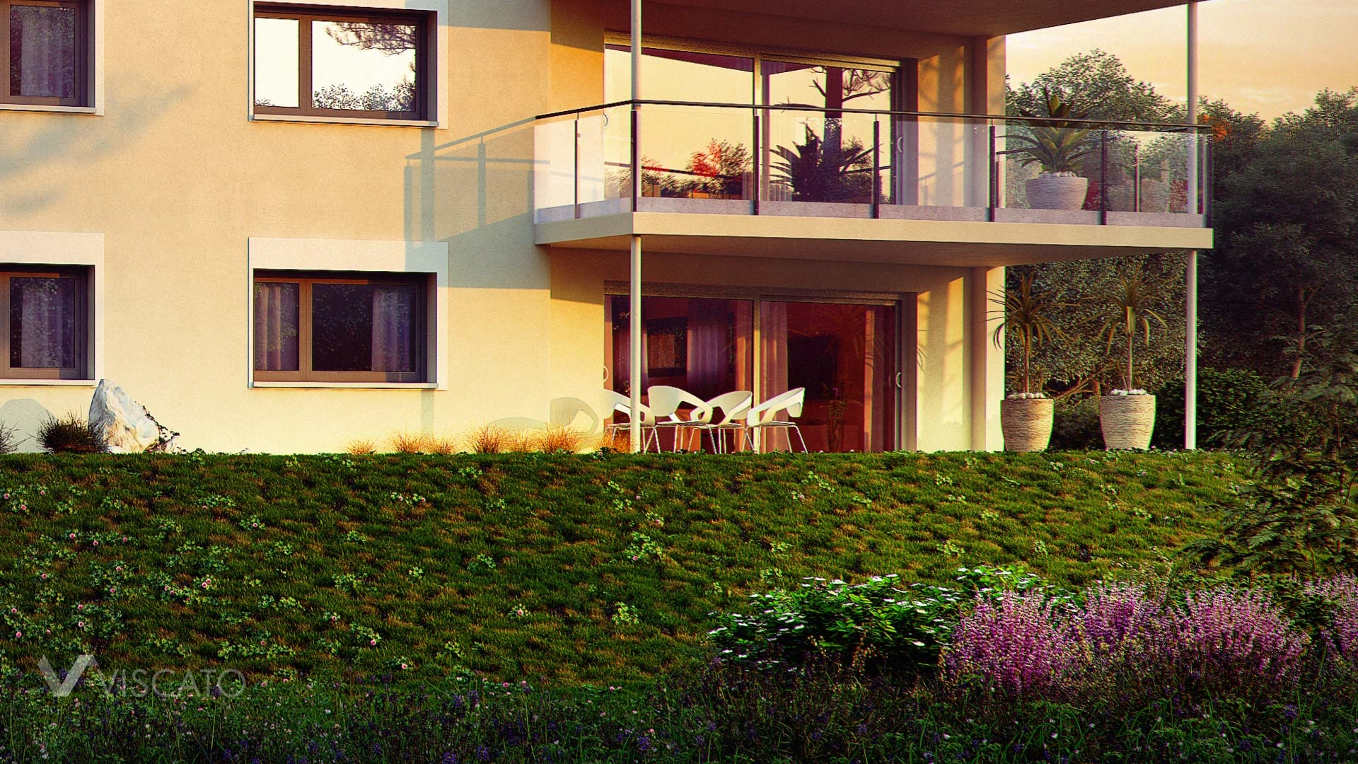 Sunset exterior visualization of multi family real estate - detail of garden