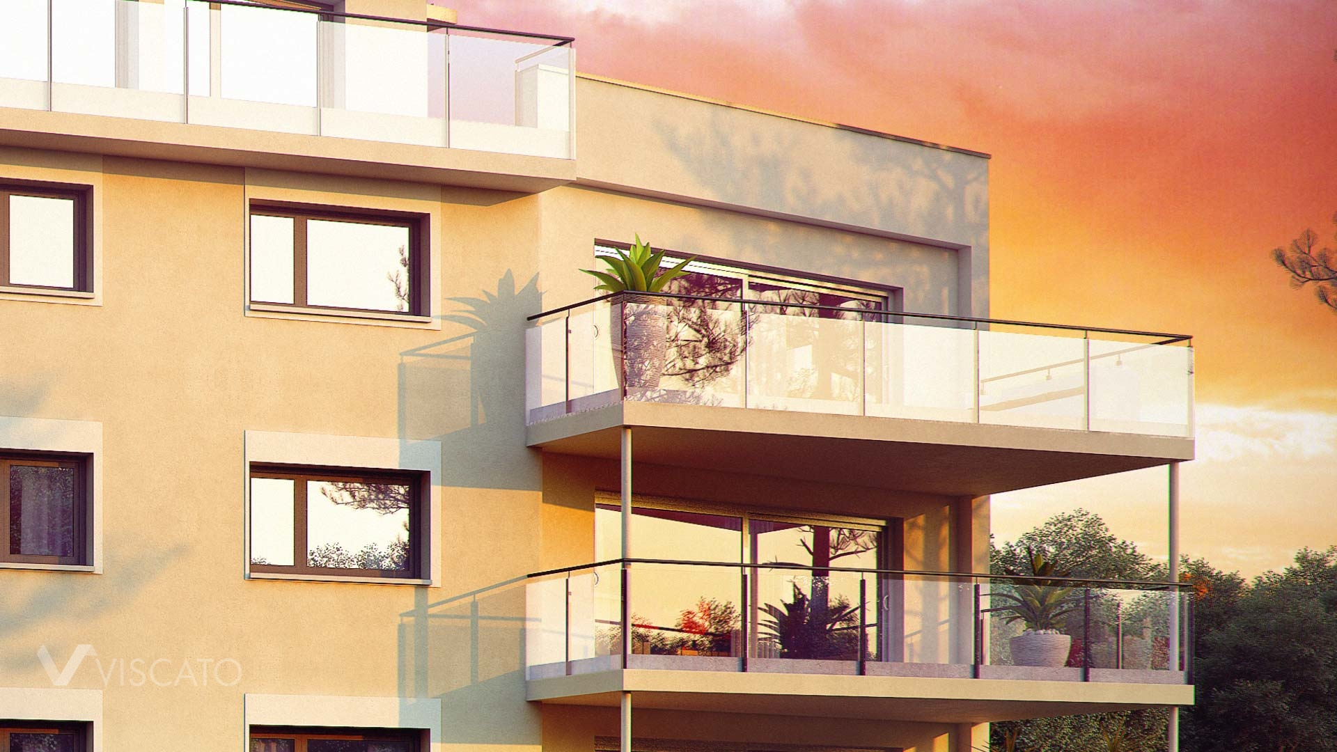 Sunset exterior visualization of multi family real estate - detail with balconies and plants