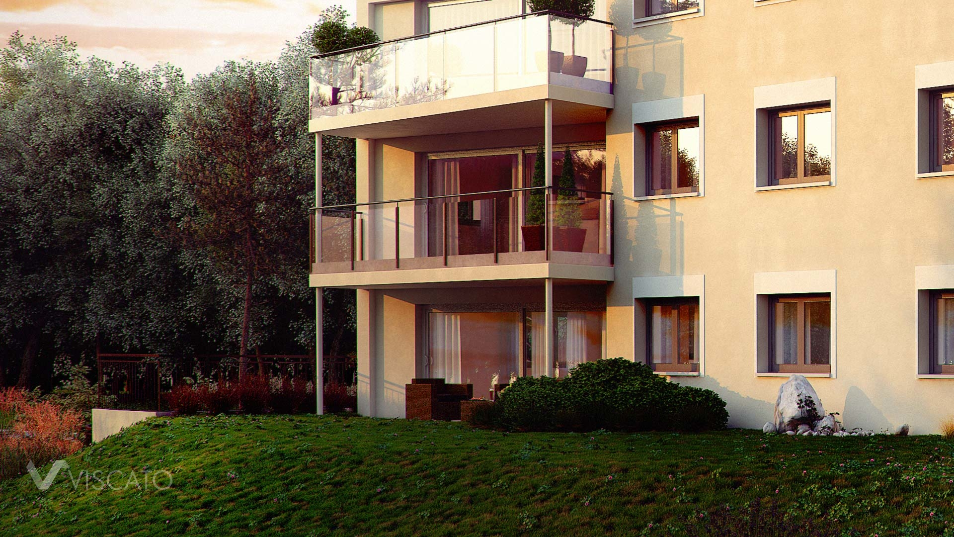 Sunset exterior visualization of multi family real estate detail with balconies