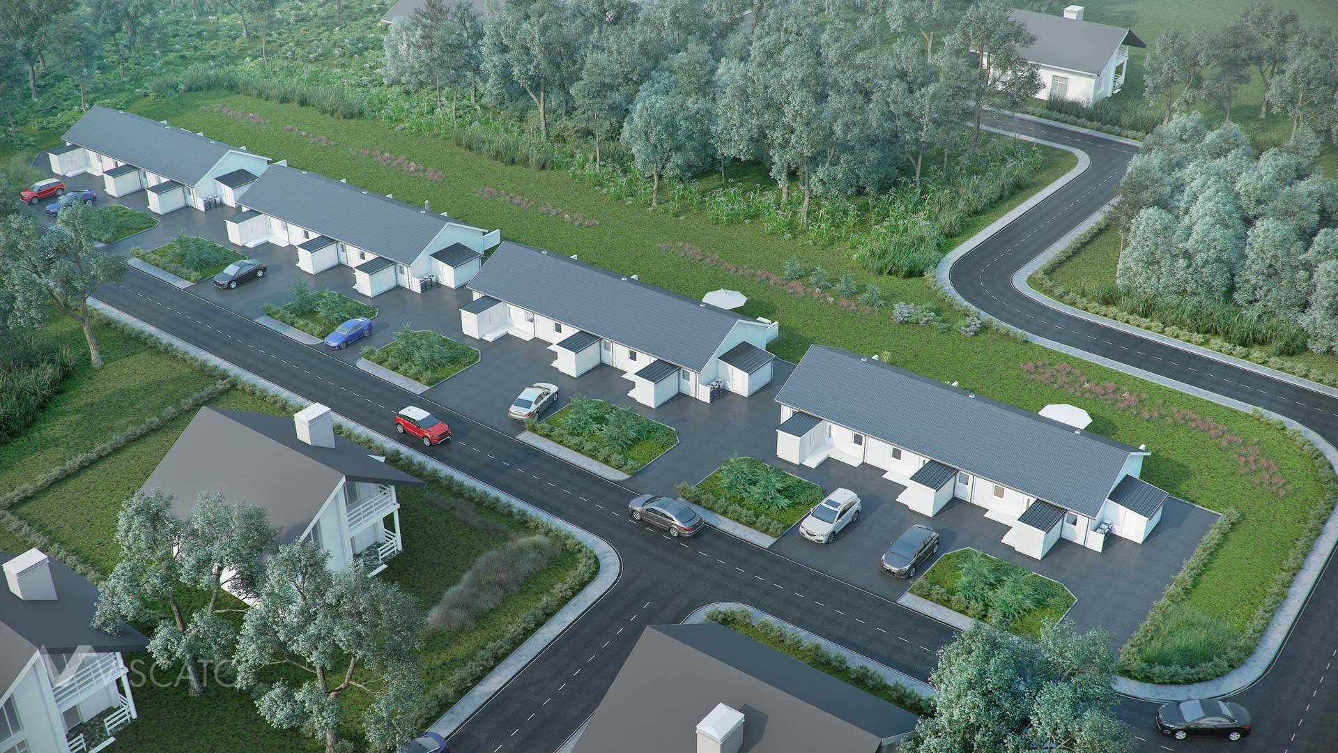 3d Exterior Visualization of settlement in Knislinge, Sweden- aerial view from entrance side