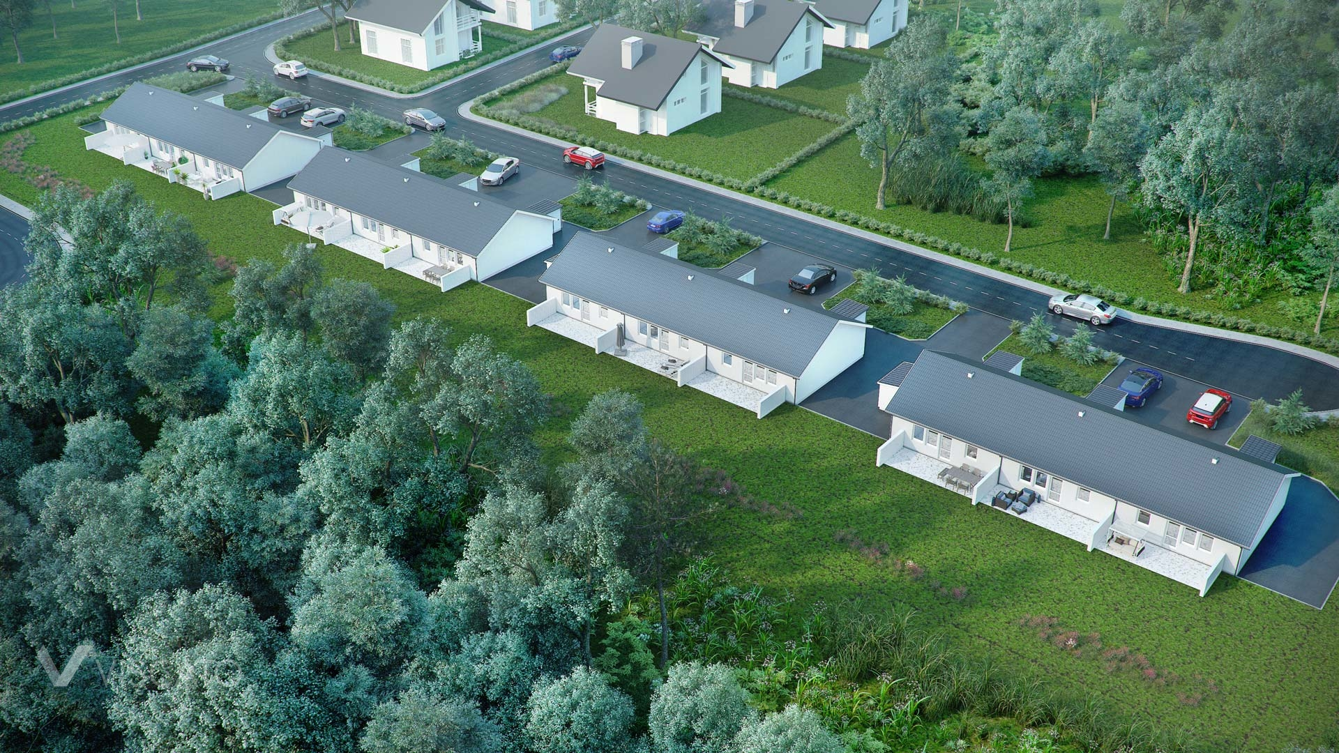 3d Exterior Visualization of settlement in Knislinge, Sweden- aerial view from garden side