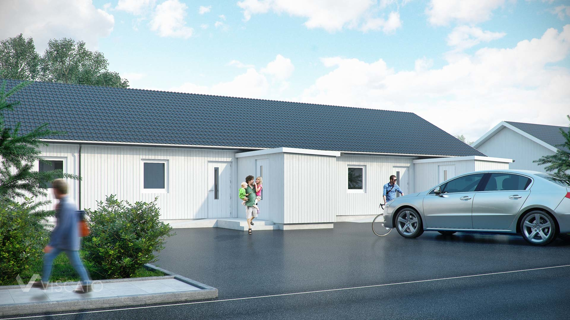 3d Exterior Visualization of settlement in Knislinge, Sweden- front entrance with parking lot