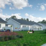 3d Exterior Visualization of settlement in Knislinge, Sweden- garden side view for all 4 houses