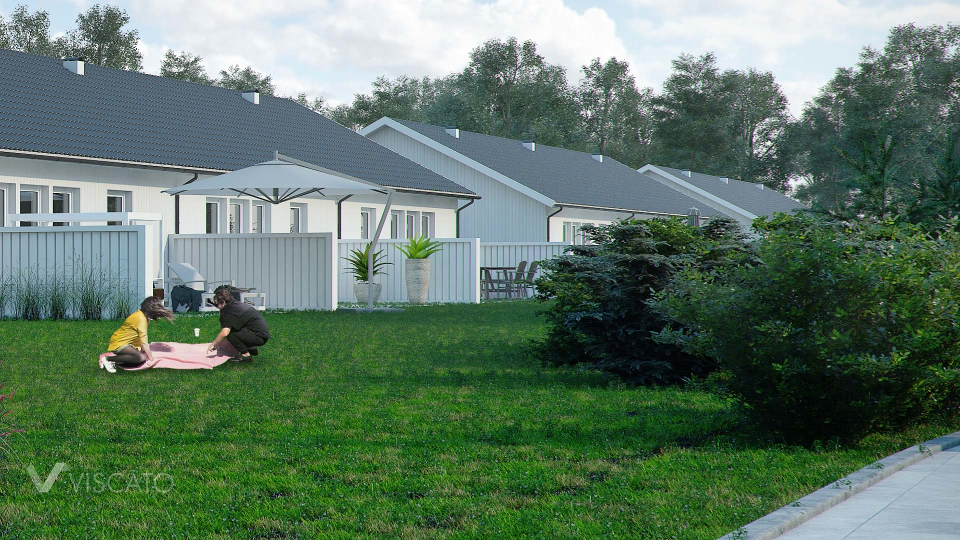 3d Exterior Visualization of settlement in Knislinge, Sweden- garden side view