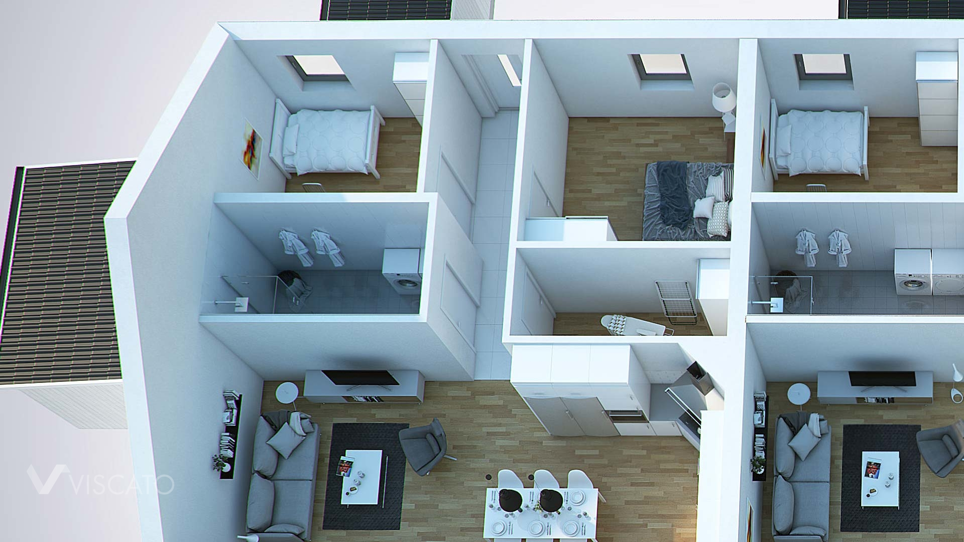 floor plan of a spacious house - 3D visualisation