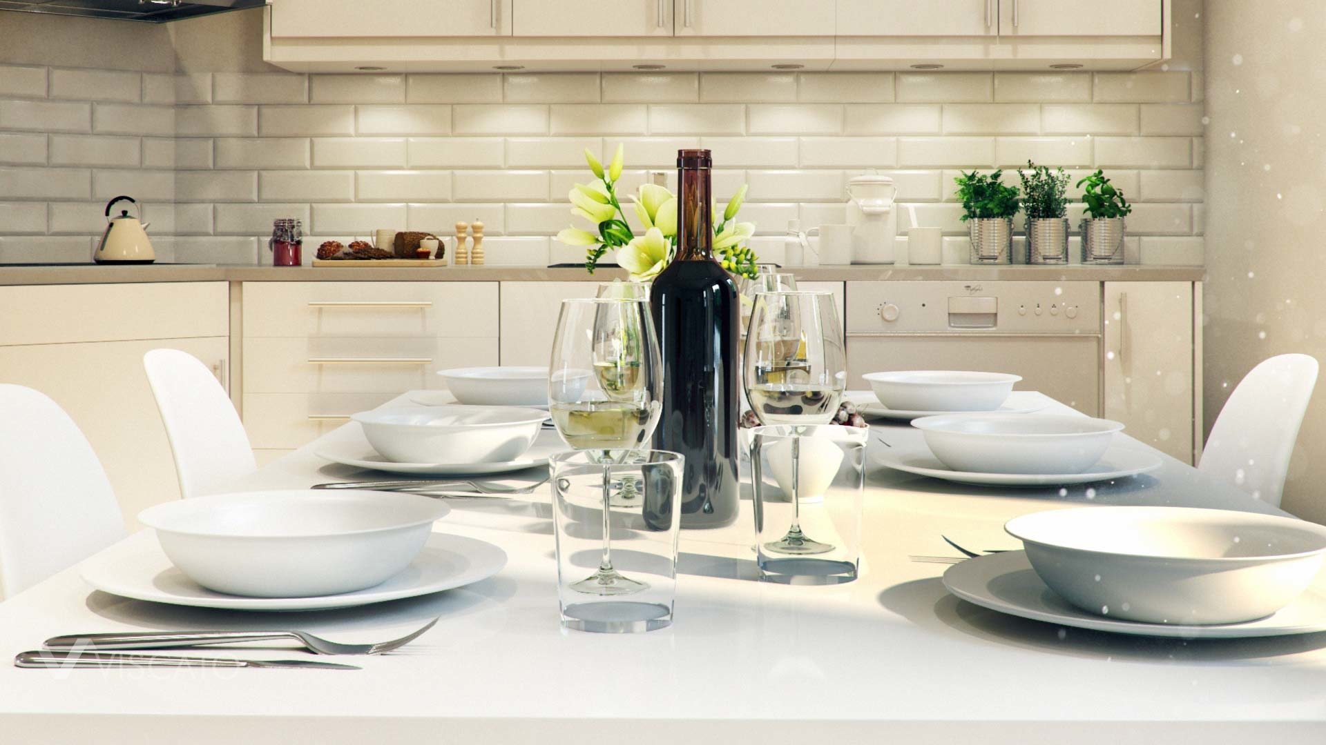 3d Interior Visualization of living room with kitchen in Knislinge, Sweden- detailed view on table with a bottle of wine