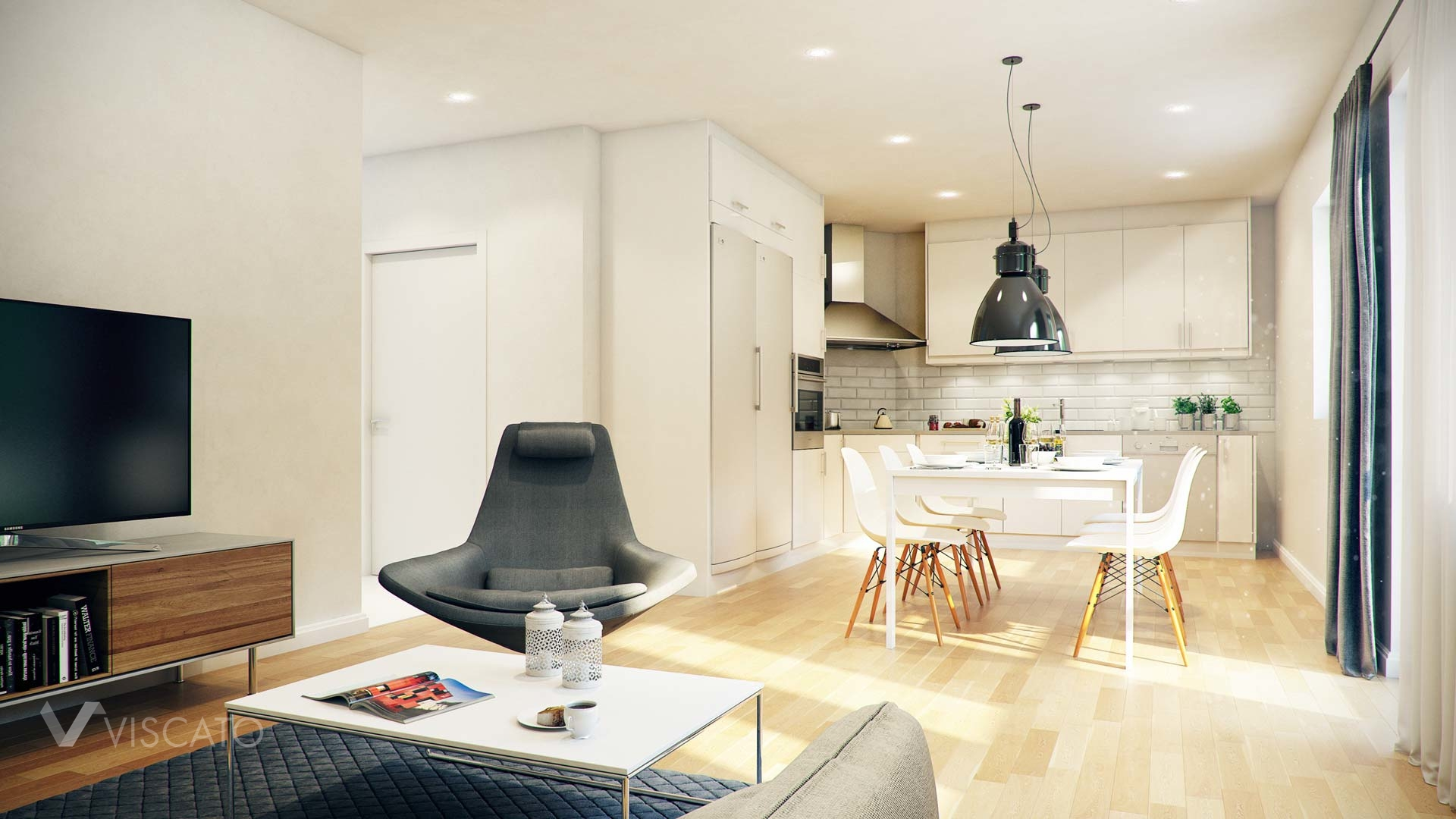 3d Interior Visualization of living room with kitchen in Knislinge, Sweden- view on living room with TV