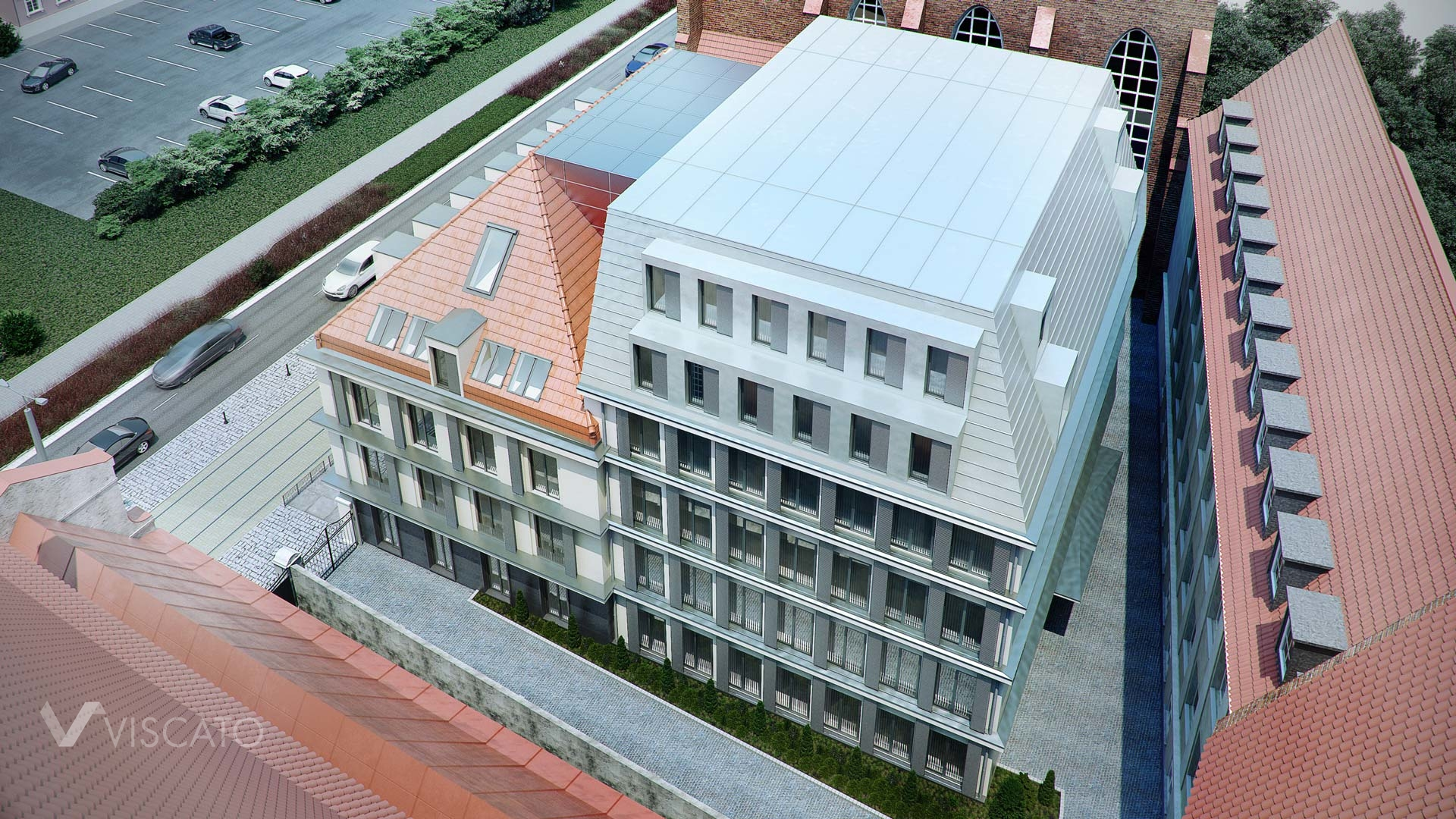3D visualisation of a renovated old building- bird's-eye shot