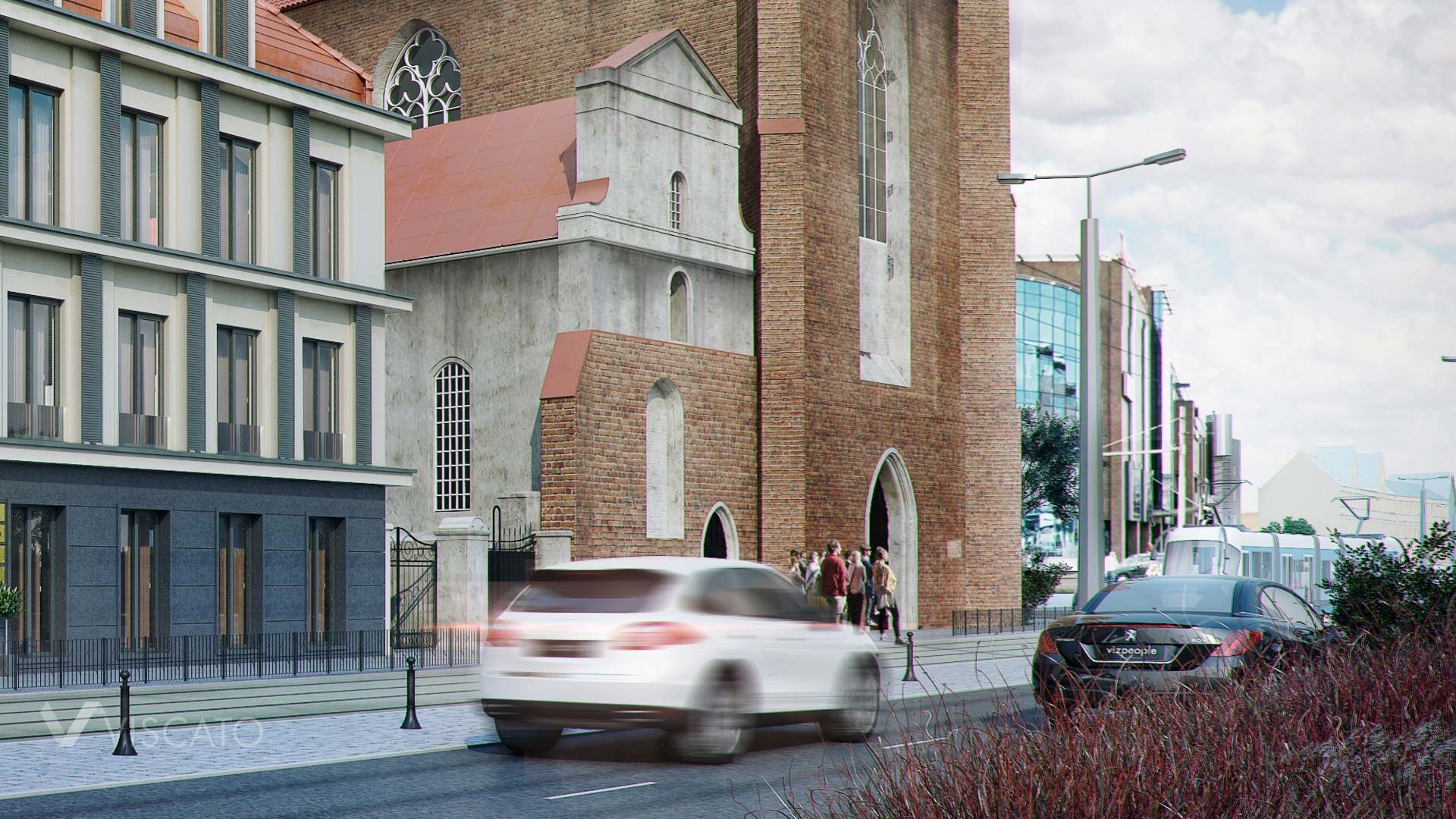 3D visualisation of a renovated old building- view from the street