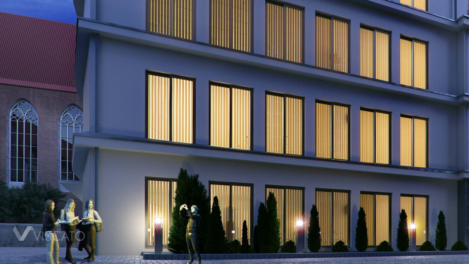 3D visualisation of a renovated old building- detail