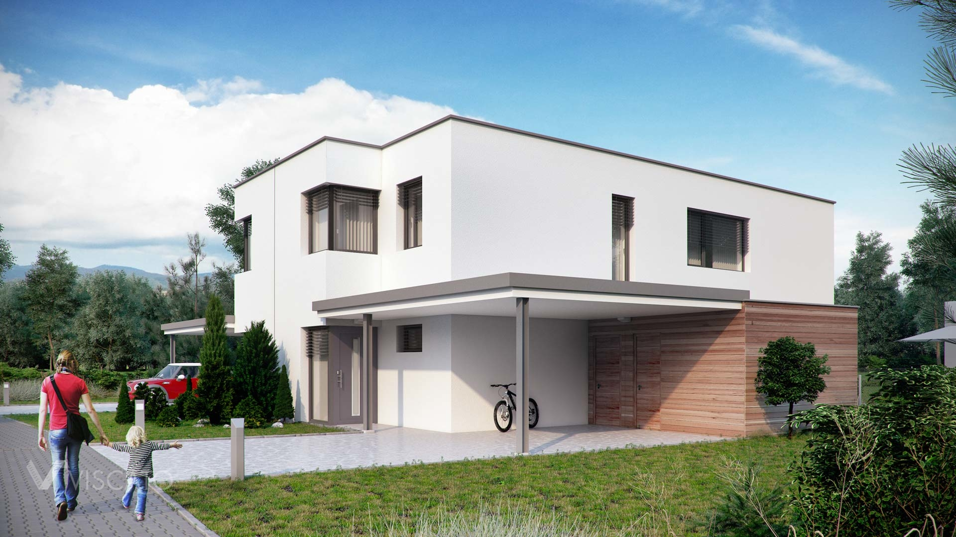 Linz twin house exterior visualization front view with car and sidewalk