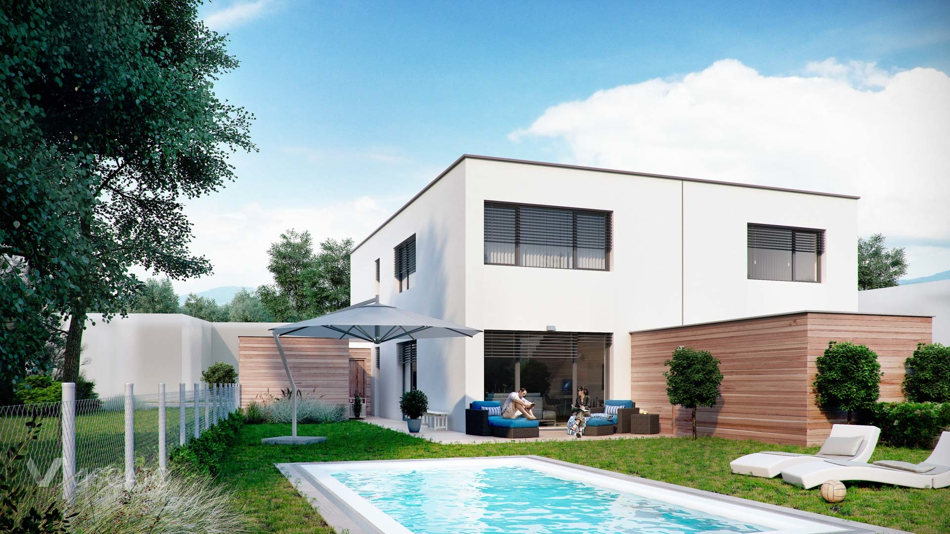 Linz twin house exterior visualization garden view with swimming pool